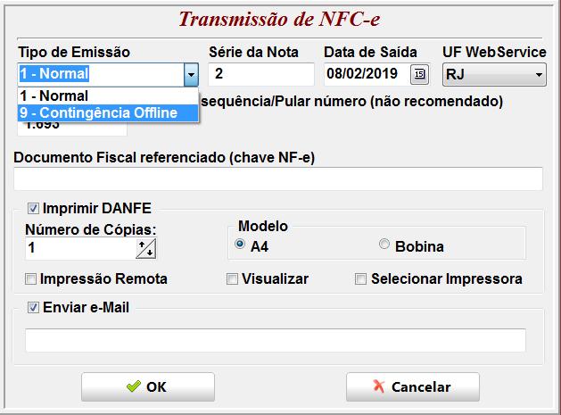 Invistto - Emissão de NFC-e em contingência