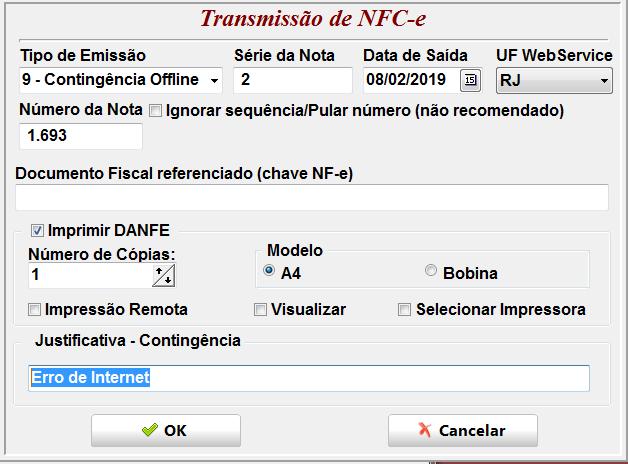 Invistto NFC-e Justificativa da Contingência